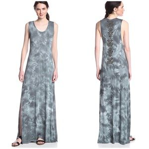 CHASER XS Maxi Dress Green Tie Dye Beaded Back